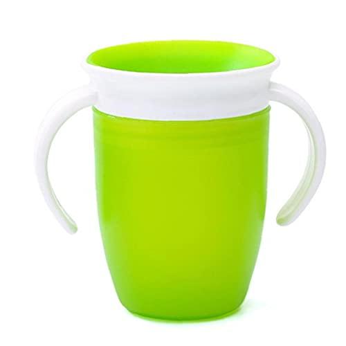 1pc 360 Grados Trainer Copa, Aprendizaje del Bebé Taza para Beber, Una Botella a Prueba De Fugas del Niño Taza De Agua, 240 (Verde)