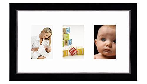 Cadres Photos pêle mêle multivues Super Blanc 3 Photo(s) 10x15 Passe Partout, Cadre Photo Mural 45x25 cm Noir avec Filet Argent, 3.4 cm de Largeur