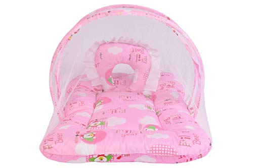 babloo Baby Mosquito Net Bed with Pillow (Pink, 0-6 Months)
