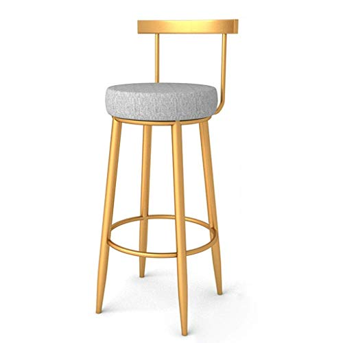 WRISCG Metal Counter Stool Height Barstools Lounge Chair Bar Cafe Back High Stools Golden Wrought Iron Bar Stools Indoor Outdoor Industrial Restaurant Dining Kitchen Table Chairs (Size : 75cm)