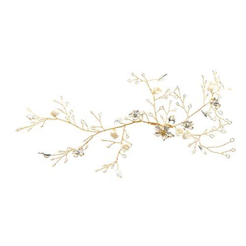 Lurrose 1pc elegante novia brillante tocado boda flor hoja diadema decoración