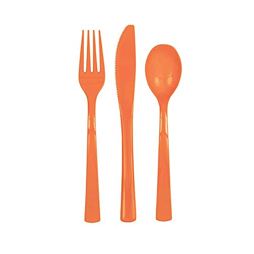 Unique Party 39500 Plastic Cutlery Set, Orange, Pack of 18
