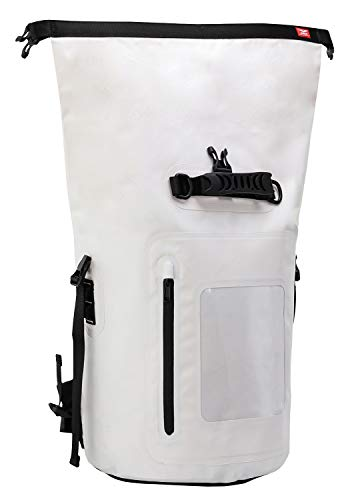 MIER Large Waterproof Backpack Roll Top Dry Bag for Kayaking, Boating, Rafting, Surfing, Swimming, Easy Access Front Zippered Pocket, Padded Back Support and Cushioned Adjustable Straps,40L,White