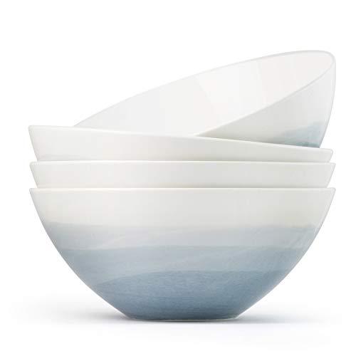Luna 4PC 6.75', 32 ounces Glacial Porcelain Bowls | Microwave safe bowl l Cereal bowls | Pasta bowl | Large soup bowl | ceramic bowl | Kitchen bowls | salad bowl set