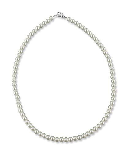 Rivelle Damen Perlenkette 38 cm Perle 5 mm creme Kette Perlen Collier Halsschmuck Geschenk-Box Modeschmuck