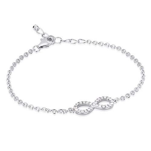 Remo Gammella Pulsera Infinito de plata 925 y circonitas blancas de corte diamante. Pulsera con infinito. Longitud ajustable de 17 a 21 cm. Fabricado en Italia.