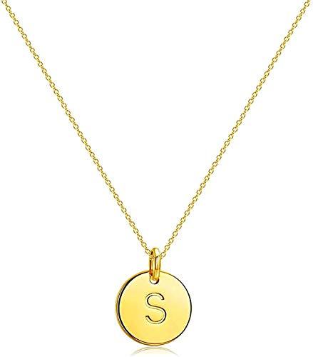 Collar en forma de Y, collar para niños, disco grabado martillado, colgante ajustable en forma de Y (longitud: 50 cm, color de la piedra principal: plata)