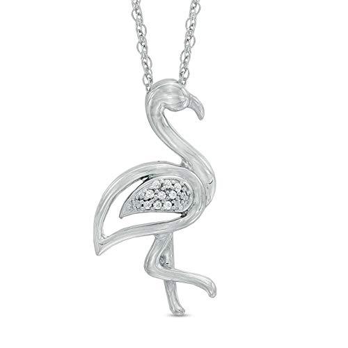 Ani's Colgante de flamenco de diamante de corte redondo D/VVS1 de 1/4 quilates para mujer en plata de ley 925 de 45,72 cm