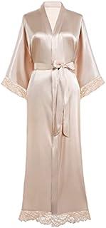 BABEYOND Womens Satin Kimono Robe Long Bridesmaid Wedding Robes for Bachelorette Party Bath Robe Nightgown Sleepwear with Lace Trim 52