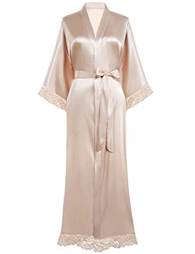 "BABEYOND Womens Satin Kimono Robe Long Bridesmaid Wedding Robes for Bachelorette Party Bath Robe Nightgown Sleepwear with Lace Trim 52"" (Champagne)"