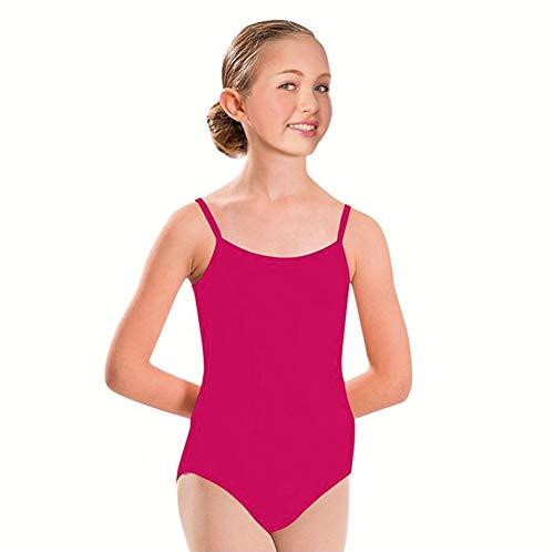 Furein Maillot de Danza Ballet Gimnasia Leotardo Body Clásico Elástico para Niña con Tirantes Cuello Redondo (01052 Fucsia, 10 años)