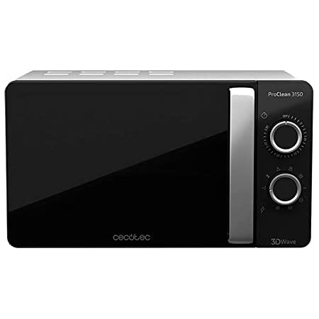 Cecotec Micro-ondes noir et argent ProClean 3150. Avec Gril et revêtement Ready2Clean, Technologie 3D Wave. Grill 800 W, 20 L de capacité, 6 niveaux, porte FullCrystal
