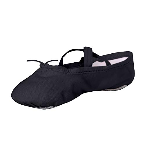 STELLE Girls Canvas Ballet Slipper/Ballet Shoe/Yoga Dance Shoe (Toddler/Little Kid/Big Kid/Women/Boy) (12ML, Black)