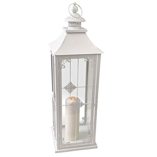 Wohaga Laterne 'Grace', Landhaus Style, H70cm, Metalllaterne, Weiß - Gartenlaterne Kerzenhalter Gartenbeleuchtung Windlicht