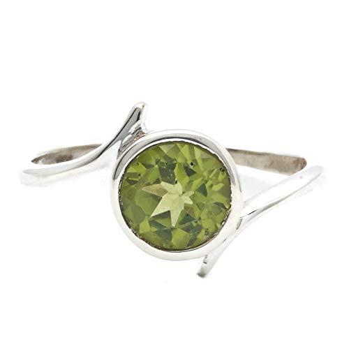 Ring Silber 925 Sterlingsilber Peridot grün Stein (Nr: MRI 143), Ringgröße:52 mm/Ø 16.6 mm