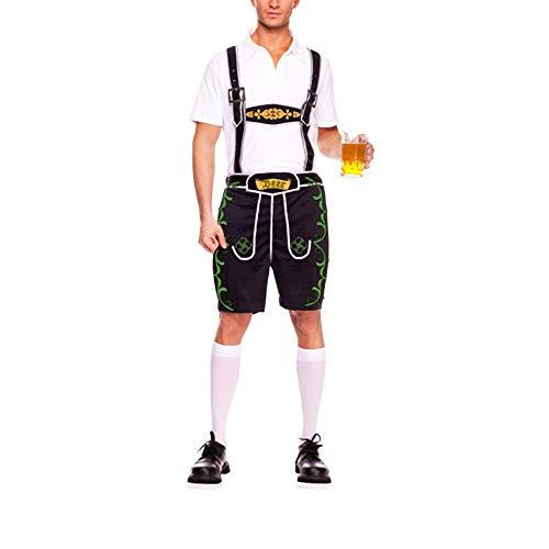 Jasmine7 Deutscher Oktoberfest Stoff Herren Kurz Latz + Hemd Anzug Lederhose