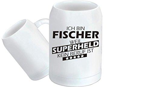Shirtstown - Jarra de Cerveza, diseño de superhéroe, cerámica, Fischer Superhéroe, 500 ml