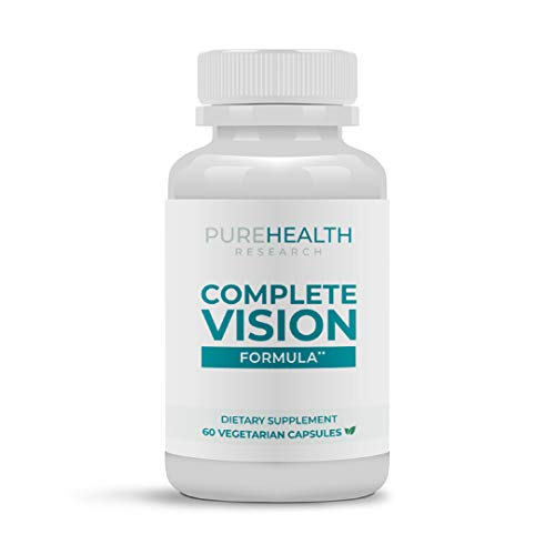 Complete Vision Formula by PureHealth Research (Non - GMO) 8 Natural Eye Hero Nutrients to Enhance Eye Function and Vision – Potent, Targeted, Protective and Regenerative