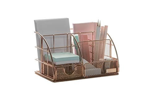 Rosework Rose Gold Desk Organizer for Women, All in One Desktop Organizer with Pen Holder, Pencil Holder and Paper Organizer, Office Organizer for Home Office and Desk Accessories