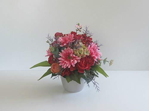 Blumendekoration Sommertraum Rosen in Rot Hortensien künstliche Blumen Tischgesteck Blumengesteck Seidenblumen Blumendekoration Muttertagsgeschenk Geburtstag Hochzeit