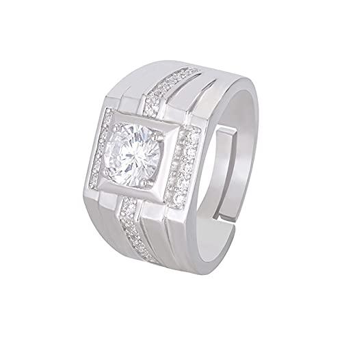 GYAM Anillo Hearts & Arrows S925 Anillo De Plata Moissan Diamante Abierto para Hombre para Compromiso Y Colocación De Vestido De Novia