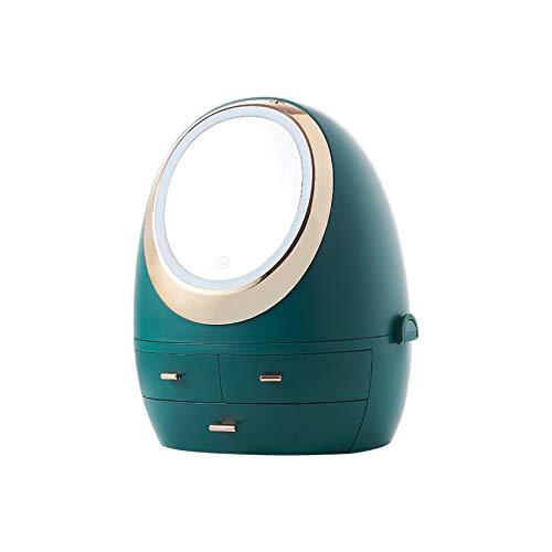 AIYIFU Make-up Organizer, wasserdichte Schmuck- und Kosmetik-Aufbewahrungsboxen mit LED-Spiegel, Kosmetik-Aufbewahrung für Badezimmer, Kommode, Waschtisch und Arbeitsplatte (3 Schubladen),Green