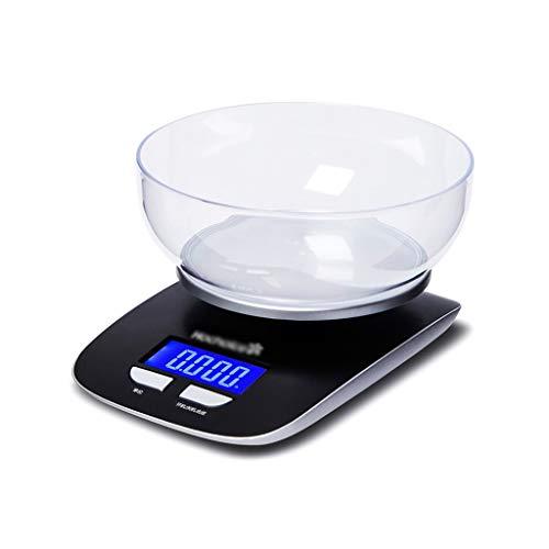 Qivor Básculas de plástico para Hornear. Balanzas electrónicas de pesaje precisas comerciales Pantalla LCD de Gran Pantalla 5 kg Negro