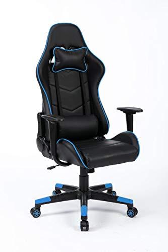 poltrona gaming RACER BLU con cuscino per il collo e cuscino per schienale regolabile - Sedia da ufficio