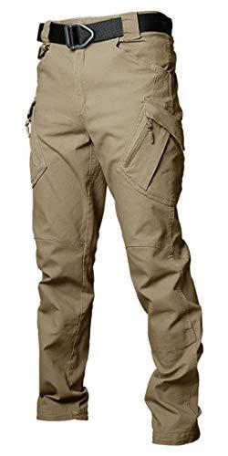 Les umes Pantalones de trabajo para hombre al aire libre Ripstop, tácticos militares, pantalones de combate, camping, senderismo, Hombre, caqui, 32