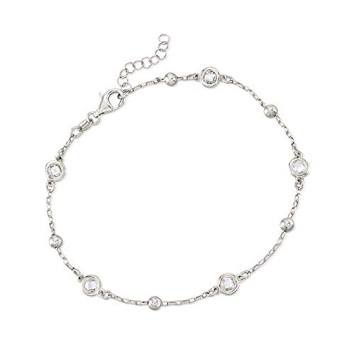 Ross-Simons Italian 1.15 ct. t.w. Bezel-Set CZ Station Anklet in Sterling Silver. 9 inches