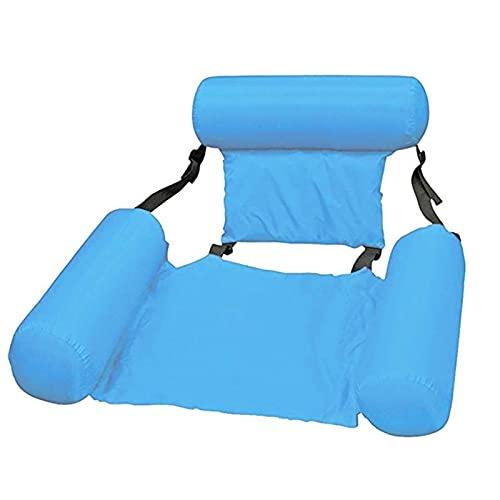 Fila Flotante Inflable, Verano Inflable Fila Flotante con flotación Piscina de Agua Hamaca de Agua Colchones de Aire Bed Beach Water Sports Schaunger Silla (Color : Light Blue)