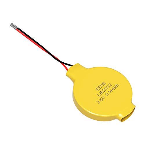リチウムイオン電池 コイン形 LIR2032 充電式 ボタン電池 二次電池保護回路/リード線付き 3.6V 40mAh EEMBメーカー直販 (1個)