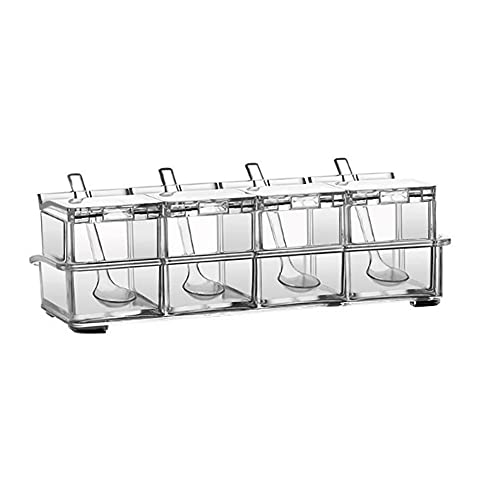 GYJCD 4 Celle spezie Rack Organizzatore Zucchero Ciotola Salt Shaker Trasparente Condimento Contenitore Contenitore Spezia Scatole da Cucina Forniture di Storage Set