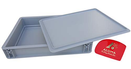 Aloma Pizza BALLEN Box 30 x 40 cm Pizzabehälter Gärbox für Teiglinge (1 X Box mit Deckel) und EIN Teigspachtel
