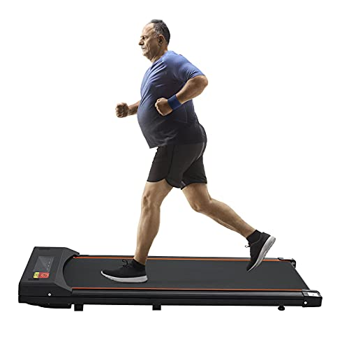Under Desk Treadmill Portable Electric Treadmill Flat Slim Walking Pad Jogging Running Machine for Home/Office Use, Remote Control, LED Display, Installation Free