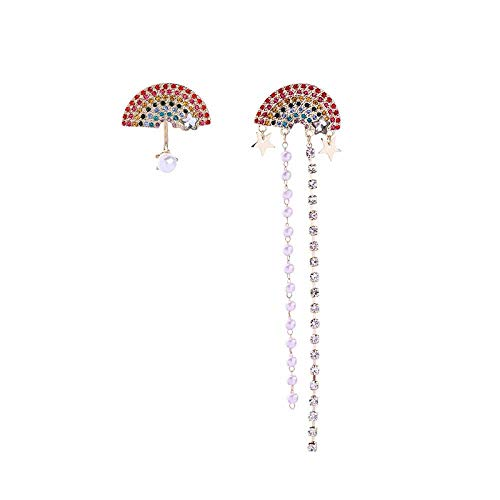 Orecchini Orecchini Asimmetrico Moda classica Fan rosso Lampadario di cristallo Orecchini a ciondolo con nappa Orecchini Gioielli per amante della ragazza