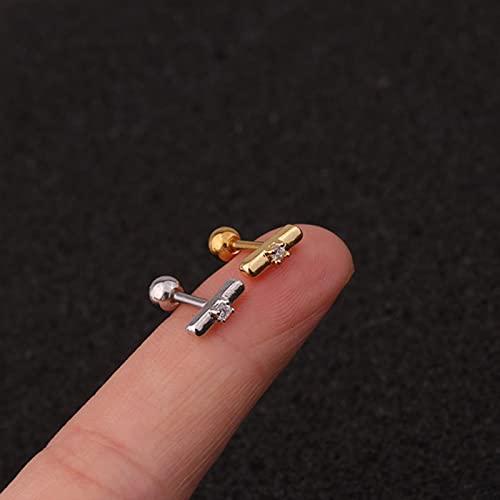 LCUK 1 Pieza de Pendientes de cartílago de Acero Inoxidable, Nueva joyería de Piercing de hélice Delicada, Pendiente de Tuerca Trasera con Tornillo de cartílago de Concha