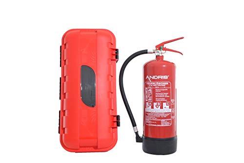 Feuerlöscher 6kg ABC Pulverlöscher mit Schutzbox aus Kunststoff abschließbar inkl. ANDRIS® Prüfnachweis mit Jahresmarke
