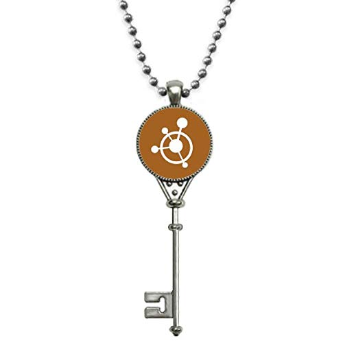 OFFbb-USA Circle Molecular Structural Traction Pendant Vintage Necklace Silver Key Jewelry