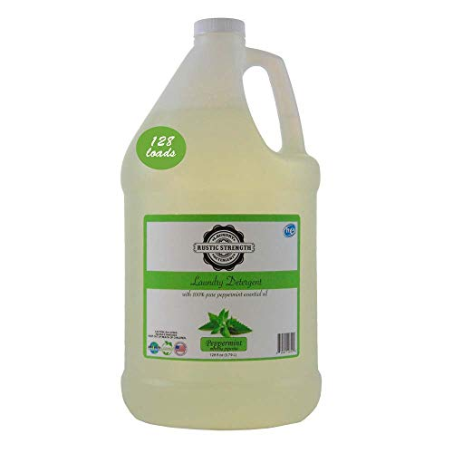 Laundry Detergent scented with 100% Pure Peppermint Essential Oils 128 loads 128 fluid oz No sulfates No Hormone Disruptors