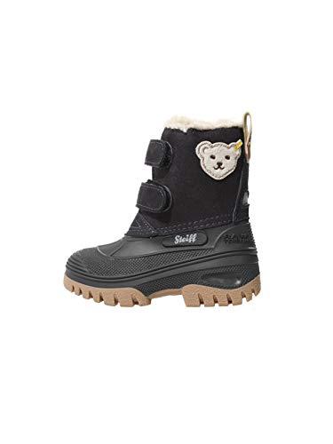 Steiff Knopf im Ohr - Kinder Schuhe Winter Stiefel Jungs Mädchen Pauli mit Klettverschluss, Farbe:Blau, Größe:EUR 24