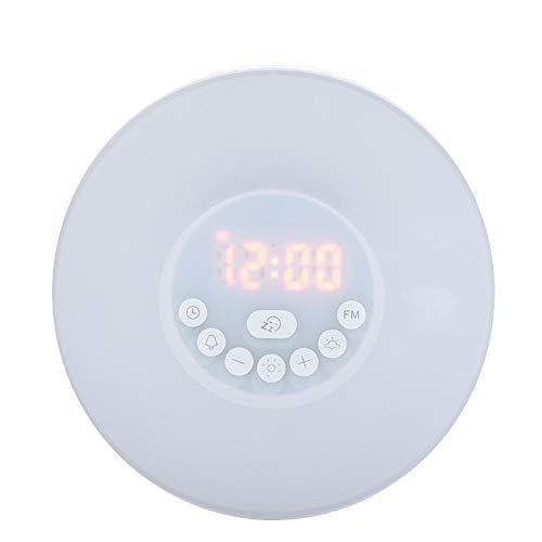 Riuty Luz de Reloj Despertador LED, Fuente de alimentación Dual, Duradera y Colorida. Despertador con música. Ambiente Nocturno. Lámpara para Dormitorio de niños (sin batería).