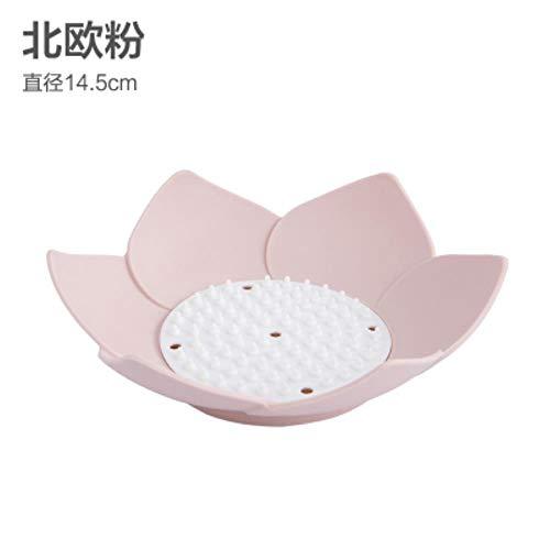 SXCYU mode bloemvormige zeephouder met afvoer badkameraccessoires mallen voor zeep gootsteen spons afvoer zeepbakje, roze