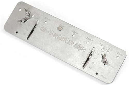 Bohrlehre Dübellehre für Lochreihen im System 32 / 5mm Bohrdurchmeßer Regalböden u. Dübelverbinder Dübelleiste aus Edelstahl Holzdübel Lochreihenschablone