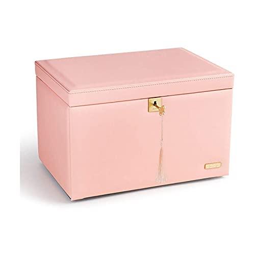 SSHA Joyero Organizador de caja de joyería de cuero, caja de almacenamiento de joyas de viaje, caja de joyería portátil grande para anillos, pendiente, collares Organizador de joyería Organizador de j