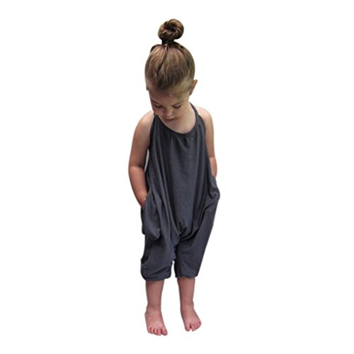 Franterd Baby Girls Straps Rompers, Kid Jumpsuits Piece Pants Clothing (Gray, 0-12M)