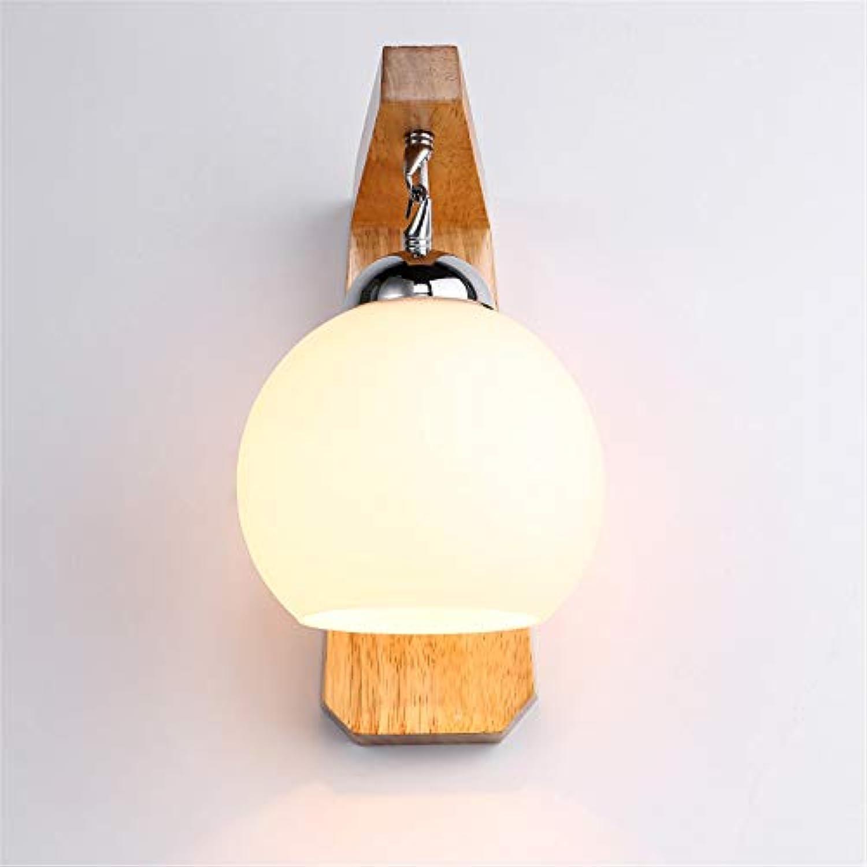 HRCxue Wandleuchten Einfache Massivholzlampe Glaskugel Innenwandlampe Gang Schlafzimmer Nachttischlampe dekorative Wandlampe Einzelkopf Wandlampe Durchmesser 20cm hoch 25cm Konservierungsmittel