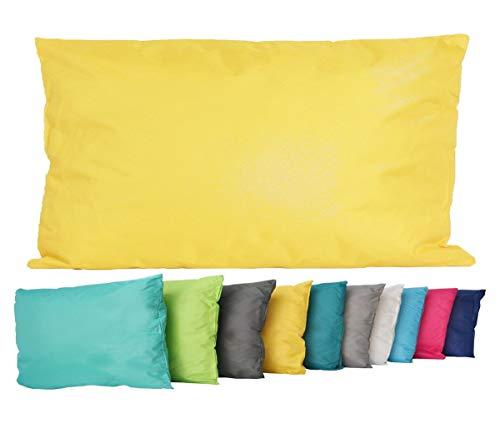 JACK Outdoor Lounge Kissen 30x50cm Dekokissen Wasserfest Sitzkissen Garten Stuhl Lotus Effekt, Farbe:Gelb