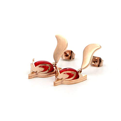 Aymsm Pendientes de Oro Rosa de Zorro Rojo de Fuego de ágata de Moda, Pendientes de Perlas Rojas de Acero de Titanio de Hipster de Personalidad Rojo
