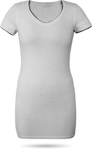 normani Figurbetontes Longshirt mit V-Ausschnitt - von XS bis 3XL Farbe Grau Größe M
